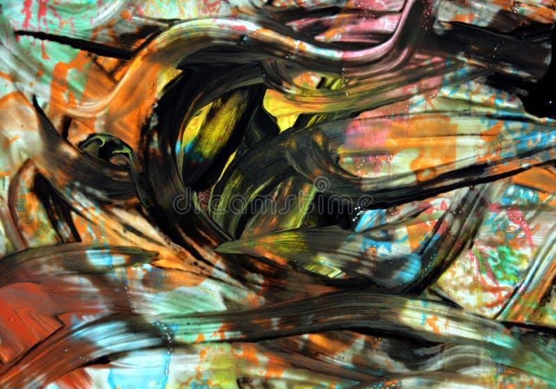 Farby akwareli czerni koloru żółtego muśnięcia uderzenia, abstrakt formy i geometrie, obraz stock
