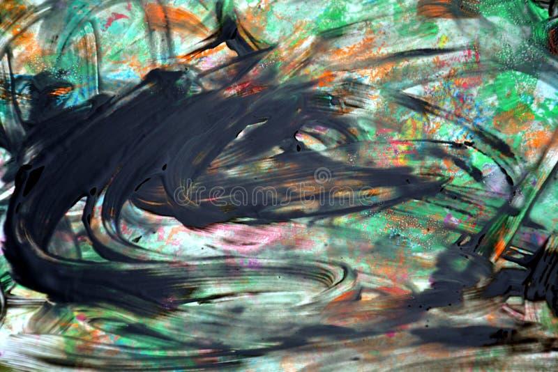 Farby akwareli plecy zieleni punkty, abstrakt formy i geometrie, fotografia stock
