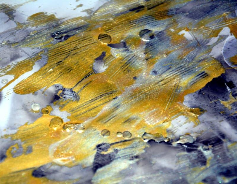 Farby ciemny abstrakcjonistyczny tło w złocistych odcieniach zdjęcia stock