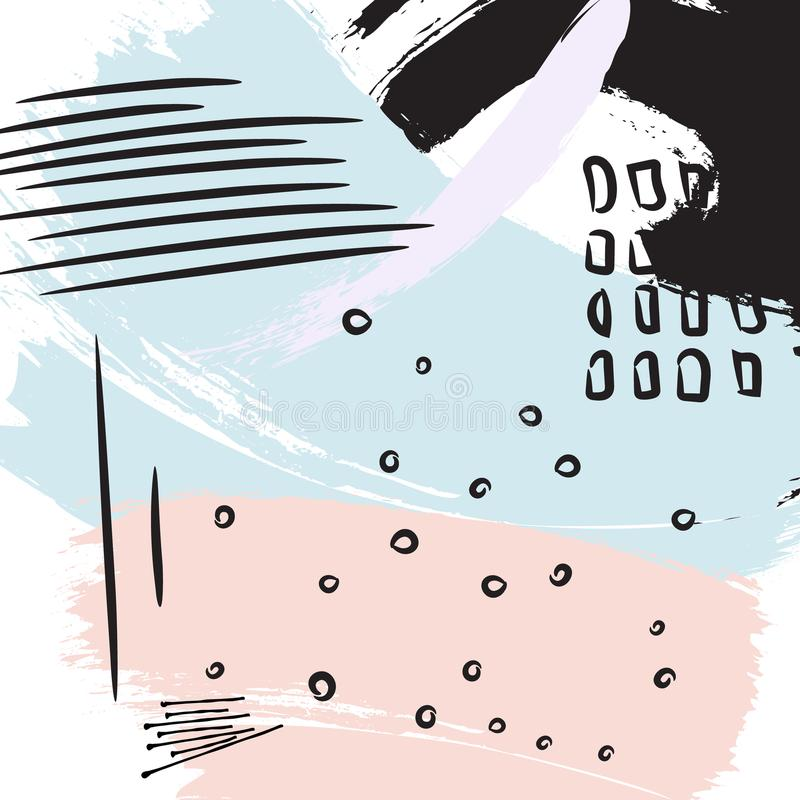 Farby czerni muśnięcia fiołkowy uderzenie Mody abstrakcjonistyczny wektorowy tło Akwareli splater koloru grunge elementy Colorfu royalty ilustracja
