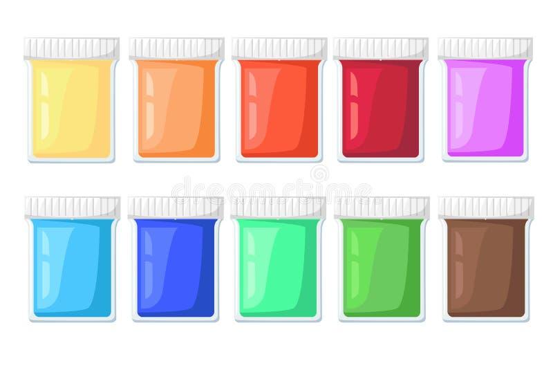 Farby kreskówki sztuki materiałów tubki Ustawiać Wektorowe Ilustracyjne ikony ustawiają sztalugi farby paletę ilustracji