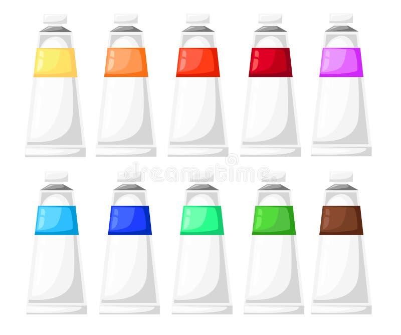 Farby kreskówki sztuki materiałów tubki Ustawiać Wektorowe Ilustracyjne ikony ustawiają sztalugi farby paletę ilustracja wektor