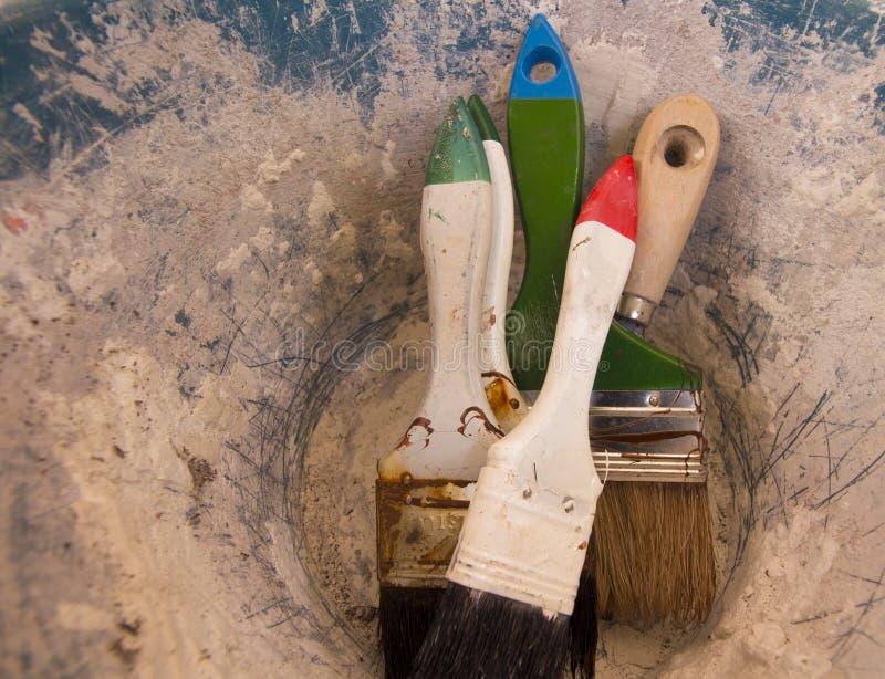 Farby muśnięcia narzędzia zdjęcie stock