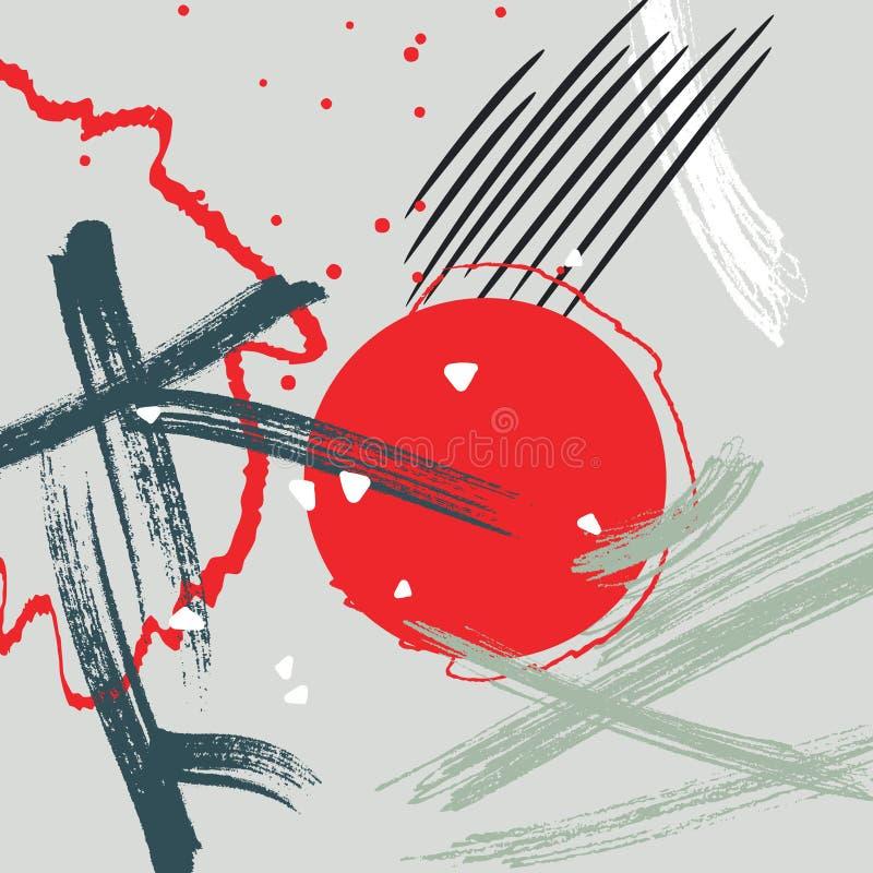 Farby muśnięcia uderzenia wektoru wzór Grunge akwareli plamy tło Kreatywnie brudny handlowy kształt Czerwoni słońce chiny ilustracji