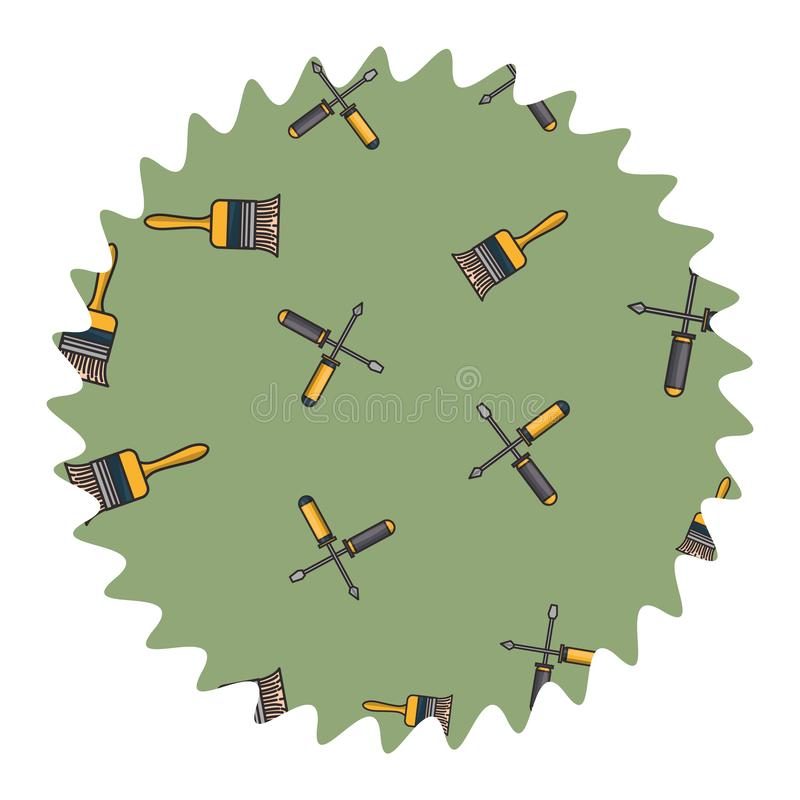 Farby muśnięcie i śrubokrętu round etykietka ilustracja wektor