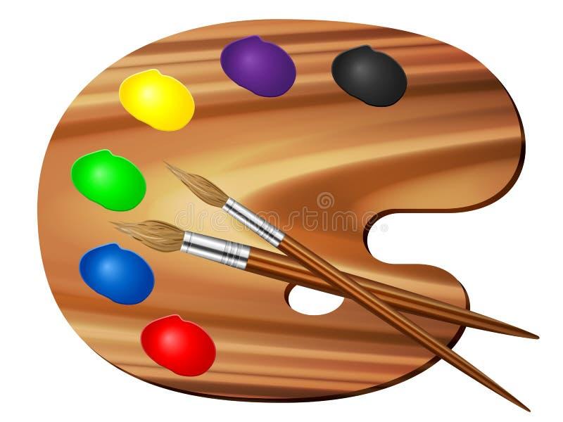 Farby muśnięcie i paleta ilustracja wektor