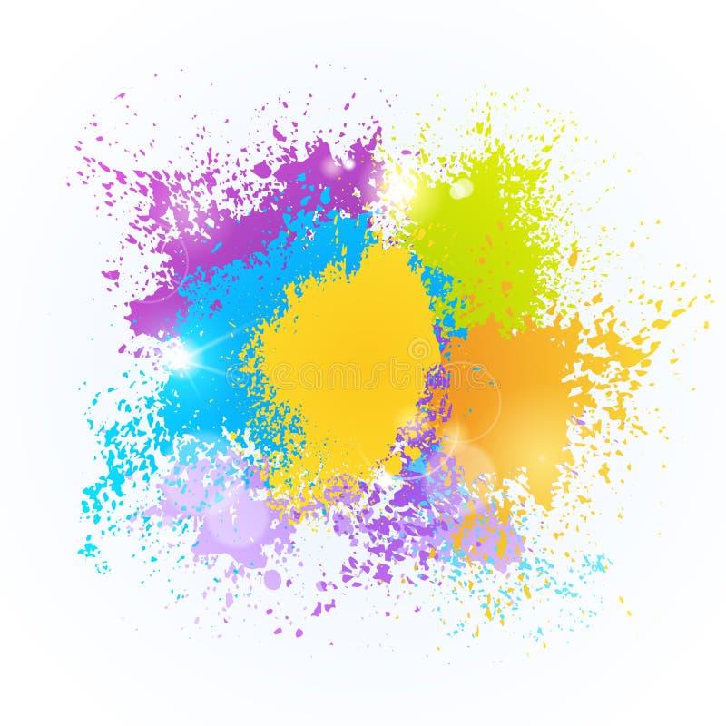 Farby pluśnięcia koloru festiwalu Holi India świętowania powitania Szczęśliwa Wakacyjna Tradycyjna fura ilustracja wektor