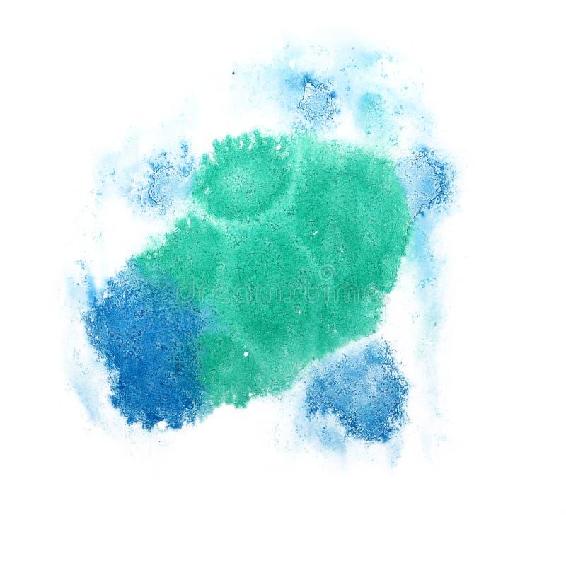 Farby pluśnięcia zieleń, błękitnego atramentu kleks i biały abstrakcjonistycznej sztuki brushe, zdjęcie stock