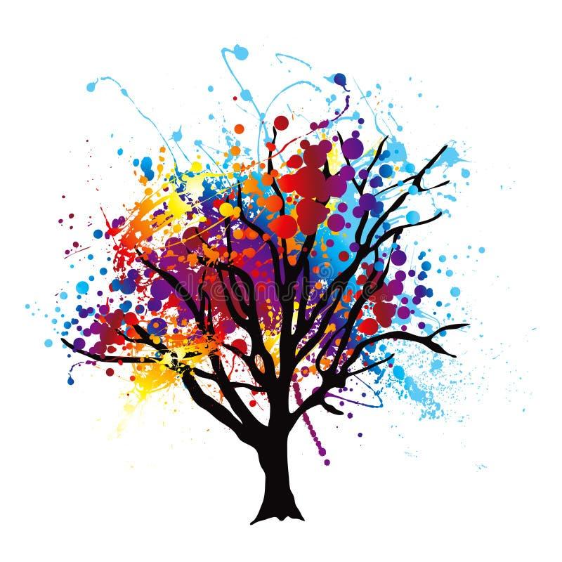 farby splat drzewo ilustracji