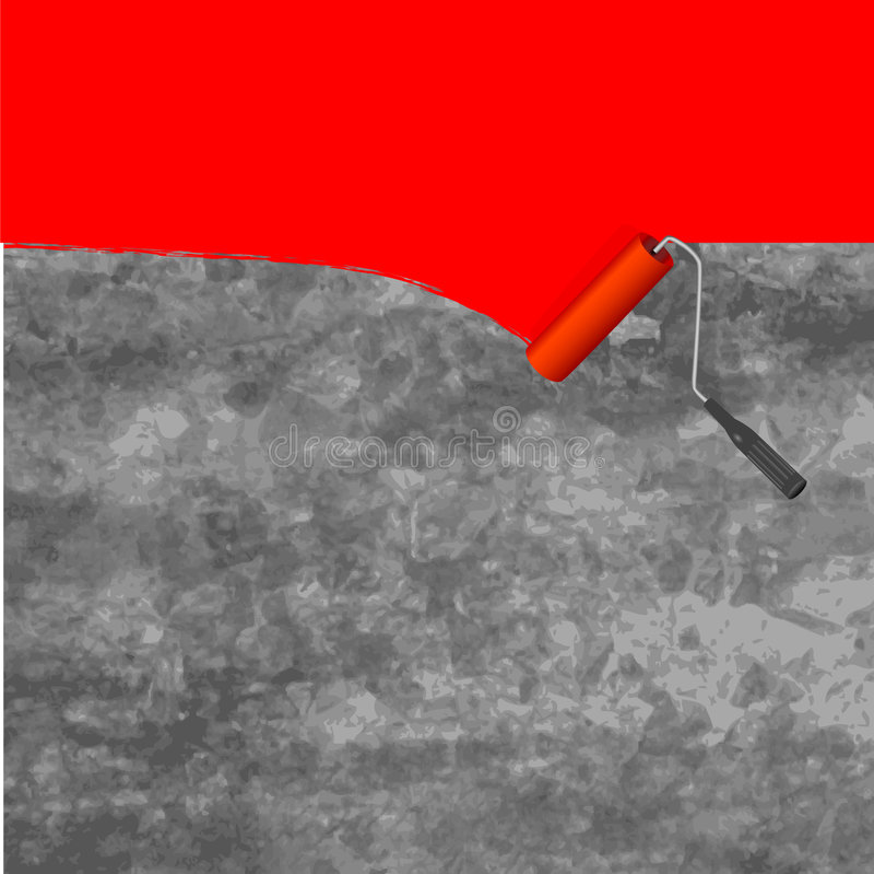 farby szczotkarski farb rolki royalty ilustracja