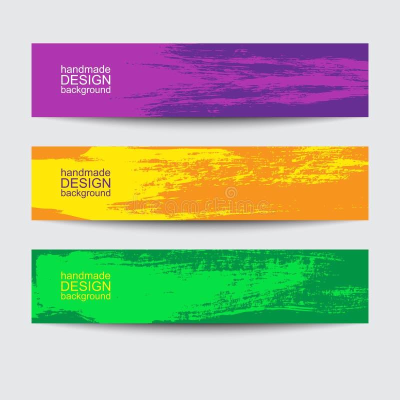 Farby szczotkarskiego sztandaru kolorowy tła set ilustracja wektor