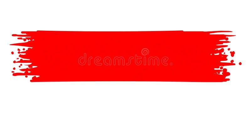 Farby uderzenia czerwieni wektor Szczotkarski uderzenie ilustracja wektor