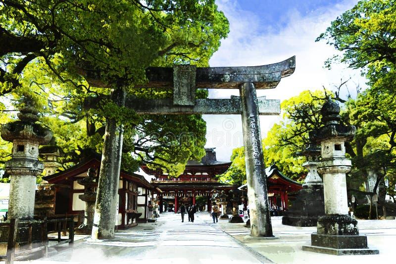 farby wodne Dazaifu Tenmangu Shrine, odruch w wodzie w mieście Dazaifu, Fukuoka, Kyushu, Japonia z pomocą techniki artystycznej obrazy royalty free