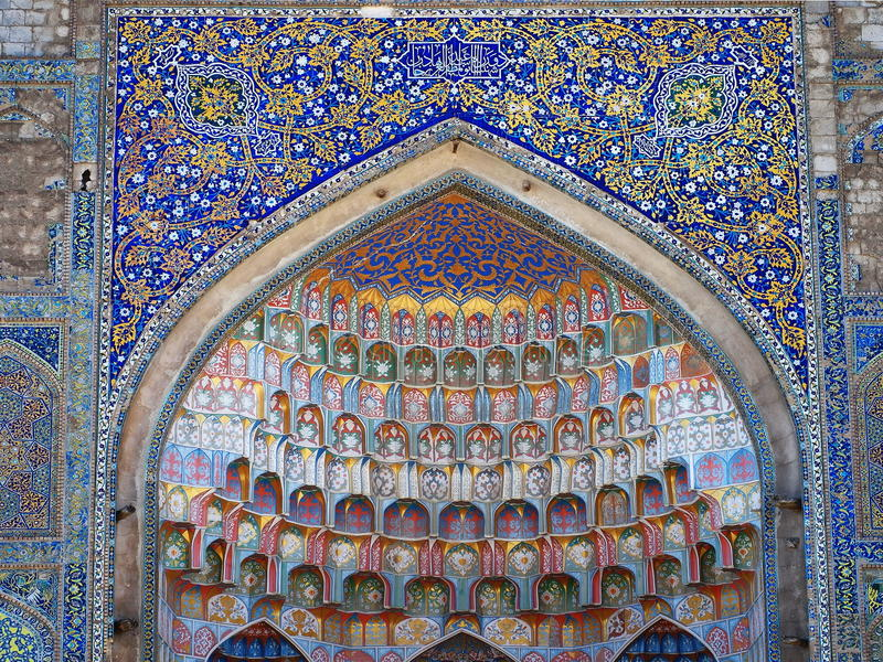 Farcade detaljer av Abdulaziz Khan Madrassa i Bukhara, Uzbekistan royaltyfri bild