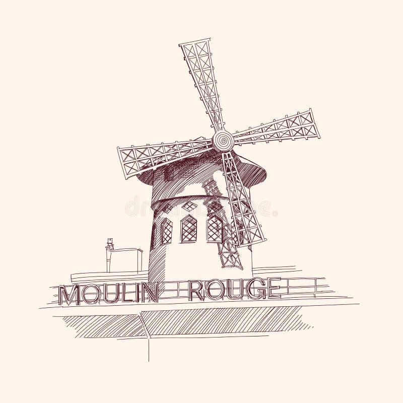 Fard à joues de Moulin, Paris illustration de vecteur