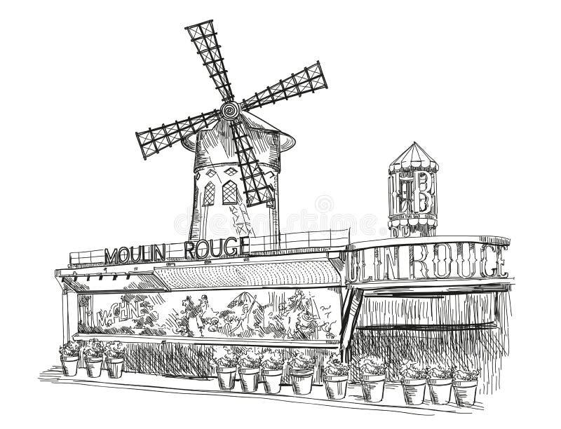 fard à joues de Paris de moulin illustration stock