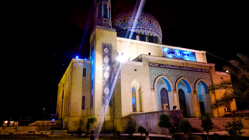 Fardous Mosque. A picture of Fardous Mosque Or as it is called 17 Ramadan Mosque during the night, Contains one dome and one minaret, It is decorated with shapes stock images