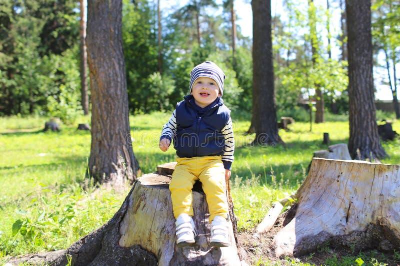 Fare da baby-sitter felice sul troncone in foresta immagini stock