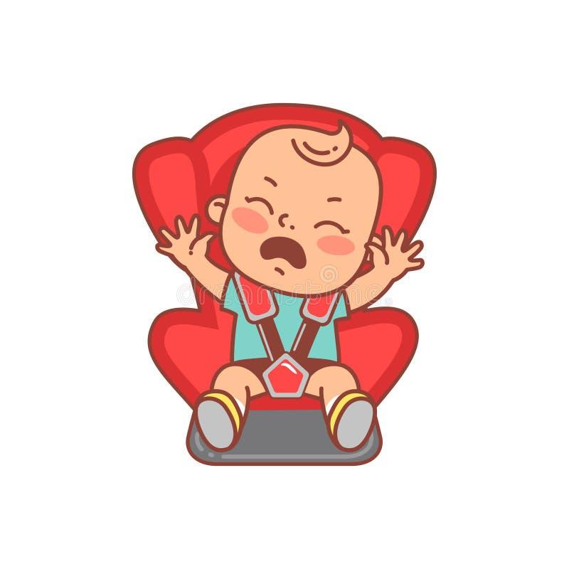 Fare da baby-sitter sulla sede di automobile Gridando con il bambino degli strappi illustrazione di stock