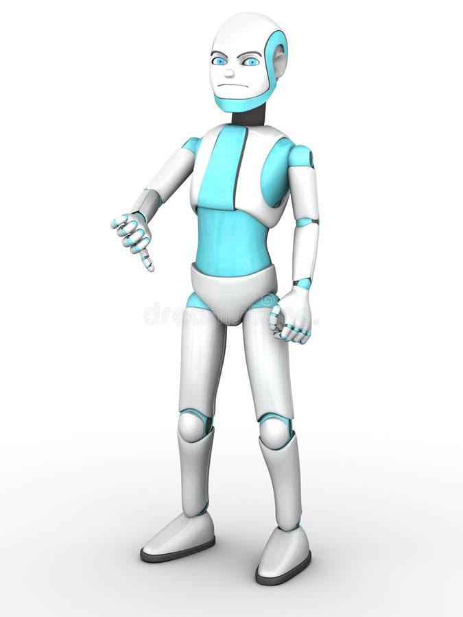 Fare del ragazzo del robot di Toon pollici giù illustrazione di stock