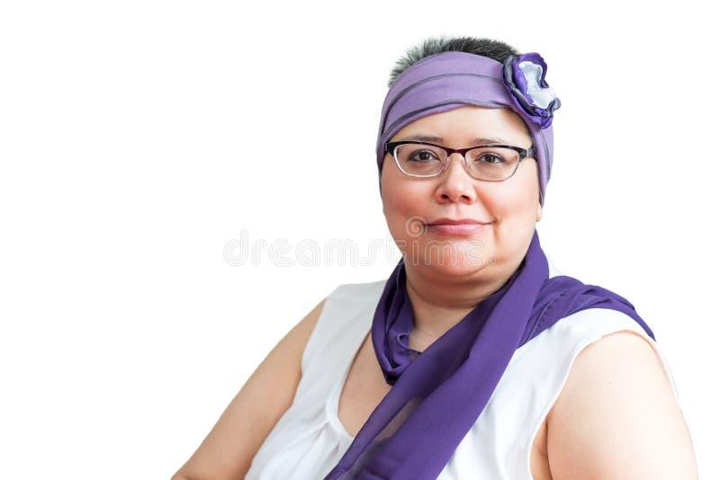 Fare fronte femminile di medio evo al cancro al seno fotografia stock libera da diritti