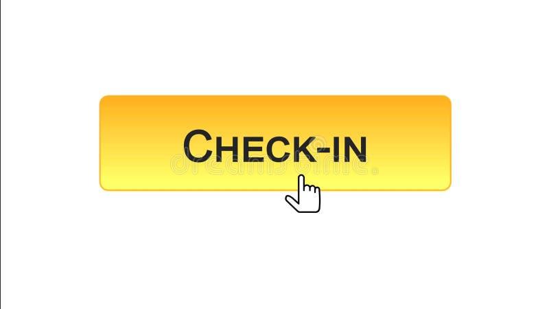 Fare il check-nel bottone dell'interfaccia di web cliccato con il cursore del topo, il colore arancio, aeroporto illustrazione di stock