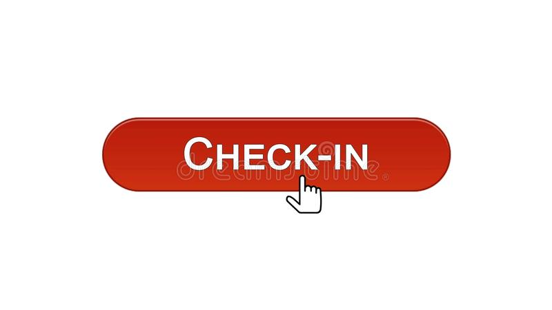Fare il check-nel bottone dell'interfaccia di web cliccato con il cursore del topo, il colore rosso del vino, aeroporto illustrazione di stock