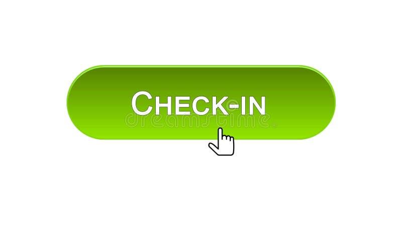 Fare il check-nel bottone dell'interfaccia di web cliccato con il cursore del topo, il colore verde, aeroporto illustrazione vettoriale