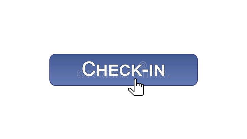 Fare il check-nel bottone dell'interfaccia di web cliccato con il cursore del topo, il colore viola, aeroporto royalty illustrazione gratis