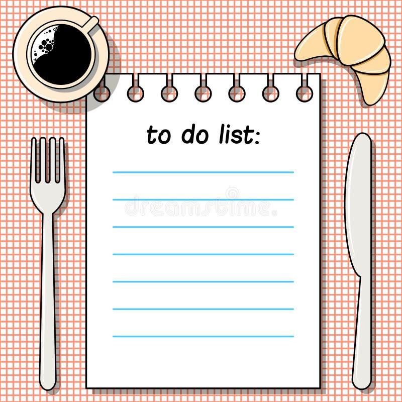 -fare-lista sulla tavola con caffè, il croissant, la forcella ed il coltello royalty illustrazione gratis