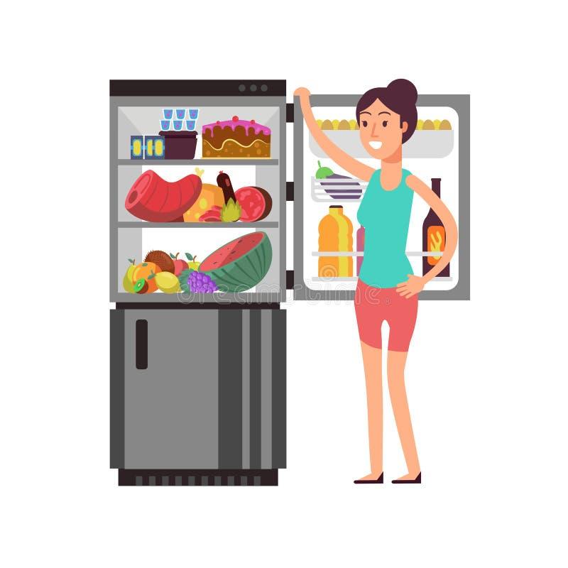 Fare un spuntino di pensiero della donna al frigorifero con alimento non sano La gente che mangia al concetto di vettore di dieta royalty illustrazione gratis
