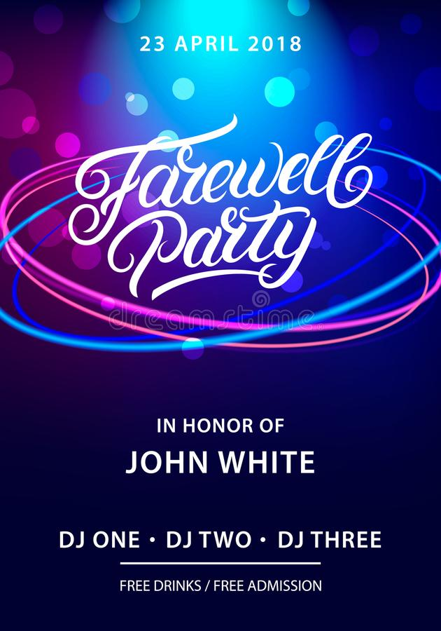 Farewell party hand written lettering. royalty free illustration