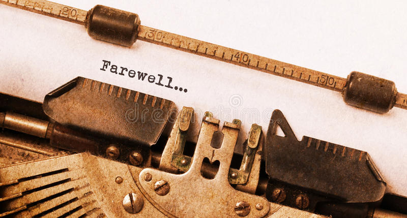 Farewell typed words on a Vintage Typewriter. Close-up stock photography
