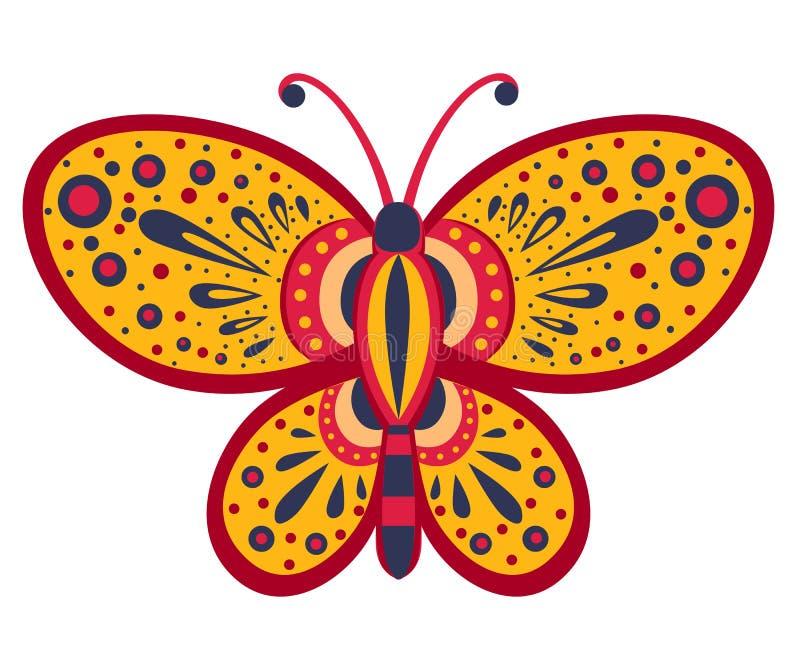 Farfalla arancio con il modello astratto Illustrazione di vettore isolata su priorità bassa bianca royalty illustrazione gratis