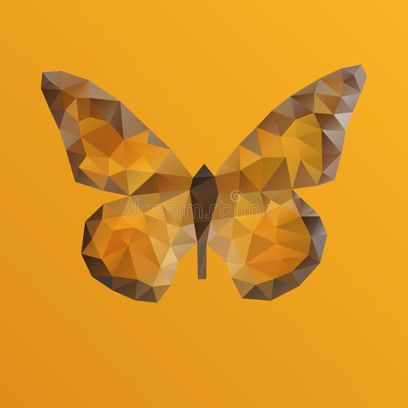 Farfalla arancio di vettore nella tecnica poligonale illustrazione vettoriale