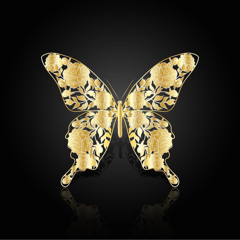 Farfalla astratta dell'oro su fondo nero illustrazione vettoriale