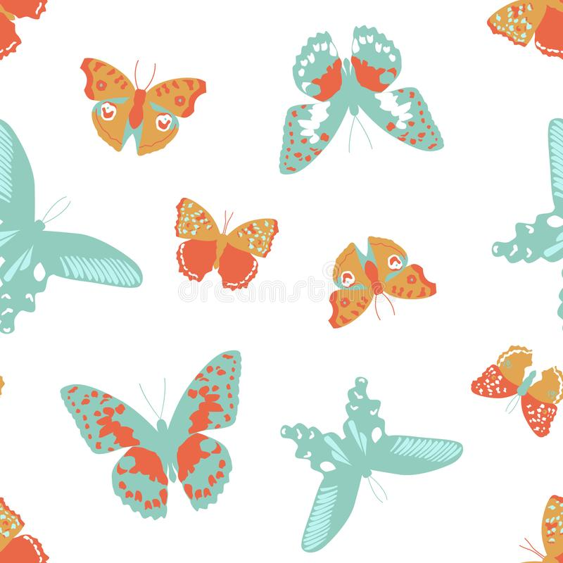 Farfalla blu ed arancio del modello senza cuciture, vettore di insetto illustrazione di stock