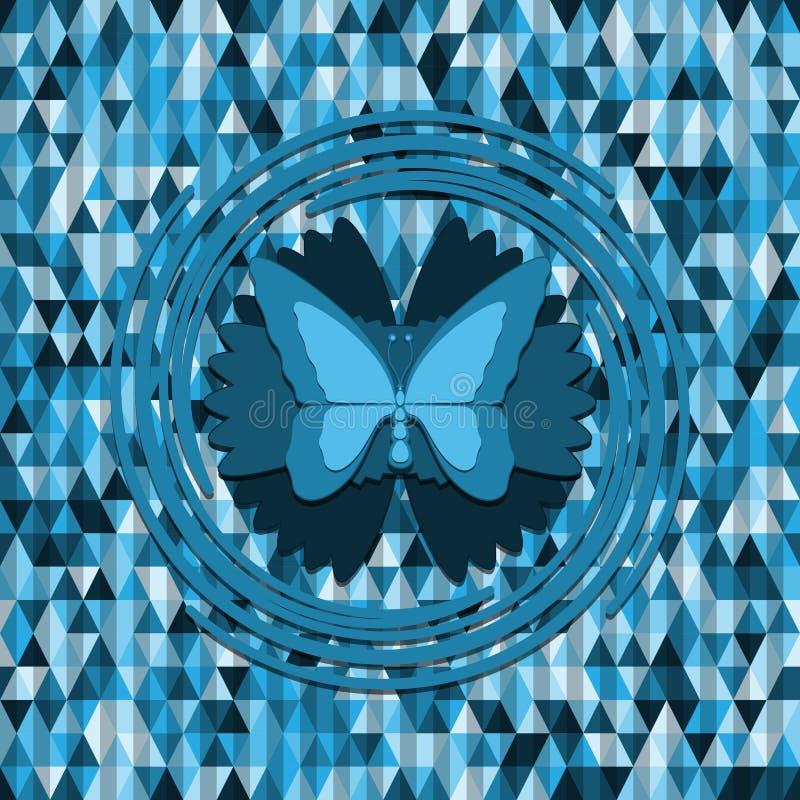 Farfalla blu sul fondo dei triangoli illustrazione di stock