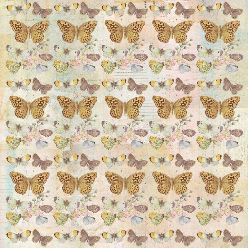 Farfalla botanica grungy rustica che ripete il modello del fondo fotografia stock libera da diritti