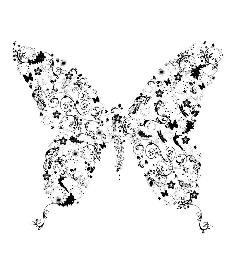 Farfalla con il fiore illustrazione vettoriale