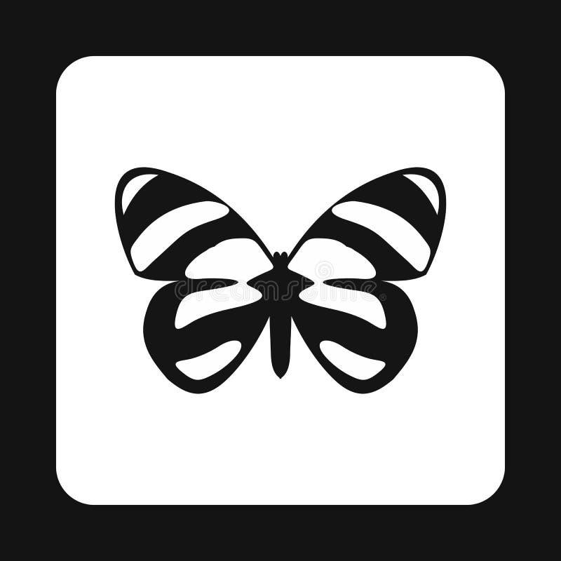 Farfalla con il modello macchiato sull'icona delle ali illustrazione di stock