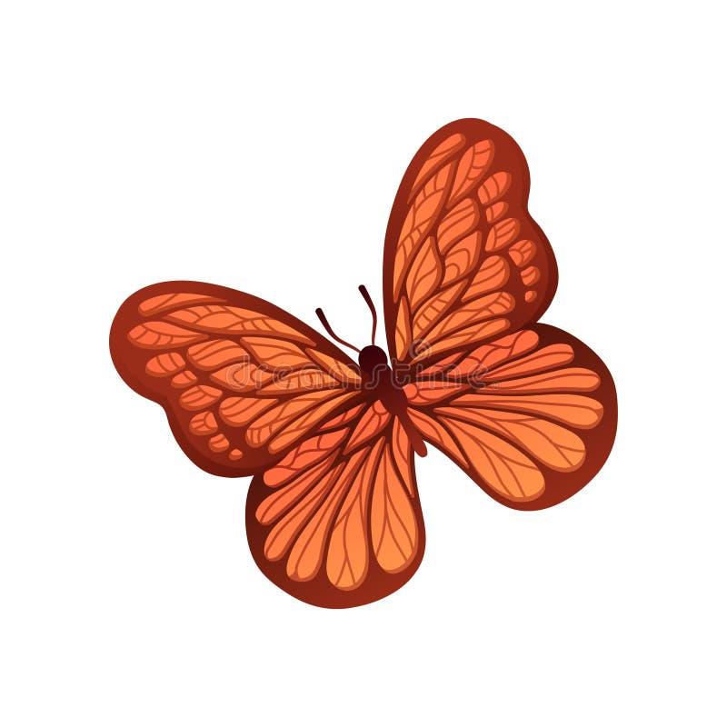 Farfalla con l'ornamento meraviglioso sulle ali Insetto di volo nei colori Brown-arancio di pendenza Progettazione piana di vetto illustrazione vettoriale