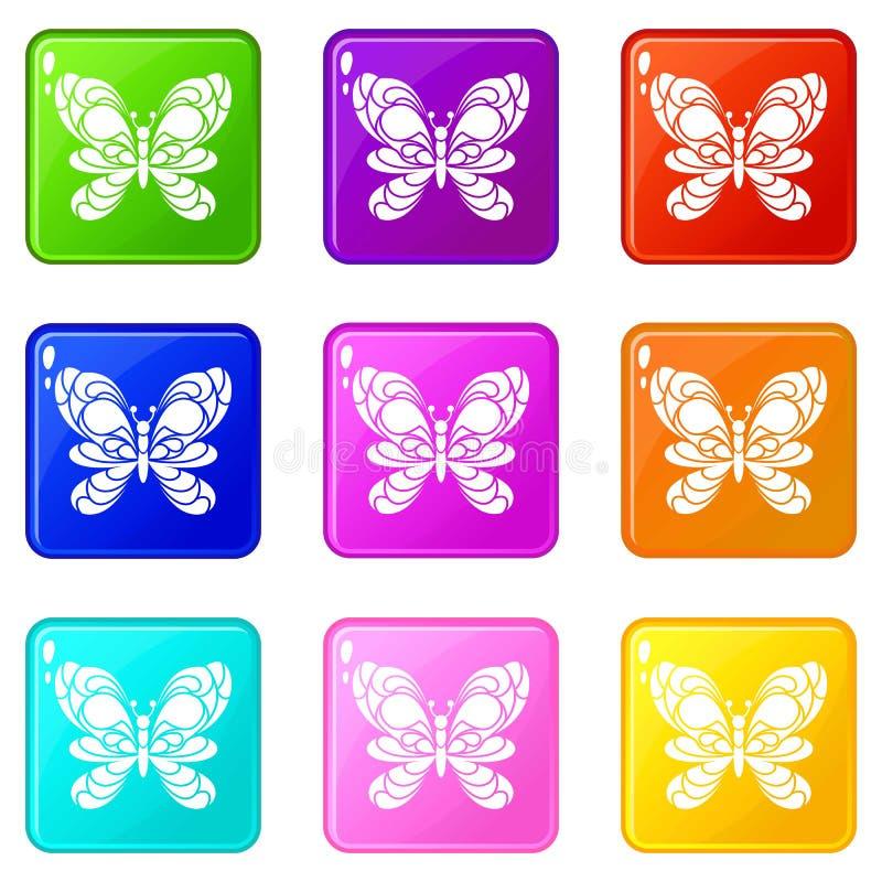 Farfalla con la grande raccolta di colore dell'insieme 9 delle icone delle ali illustrazione vettoriale