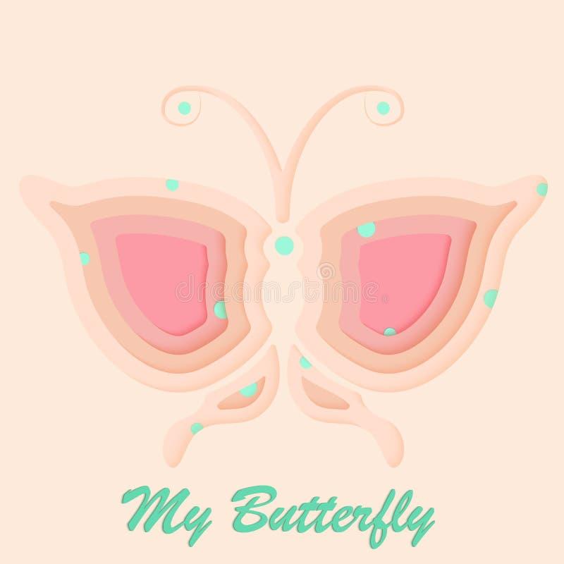Farfalla con le grandi ali con arte di carta di stile e la bella illustrazione di vettore del fondo di colore pastello fotografia stock libera da diritti