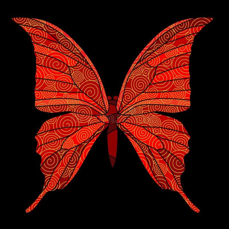 Farfalla con le spirali dorate royalty illustrazione gratis