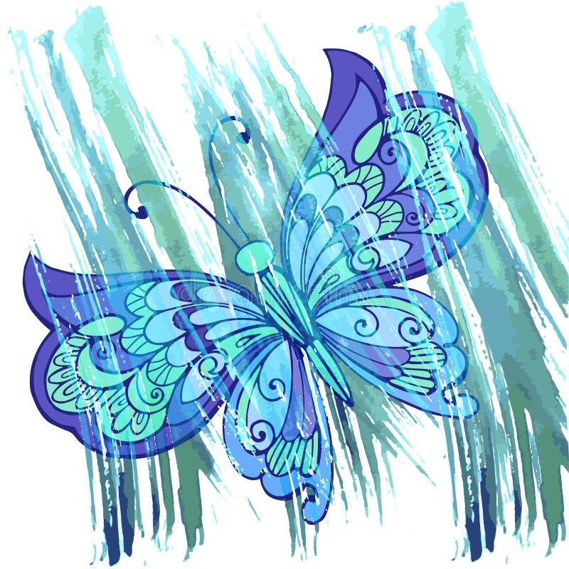 Farfalla decorativa con l'indaco di colore del fondo dell'acquerello Tiraggio della mano illustrazione di stock