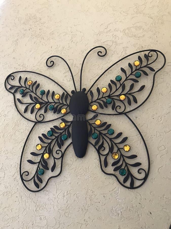 Farfalla decorativa del metallo immagine stock
