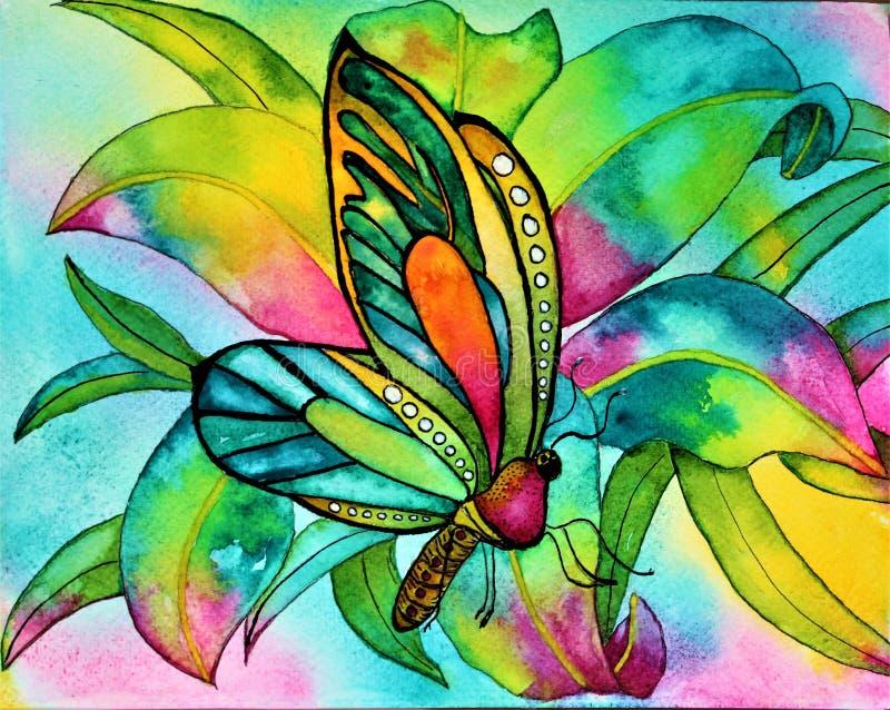 Farfalla dell'acquerello con l'orchidea ed il fogliame fotografia stock