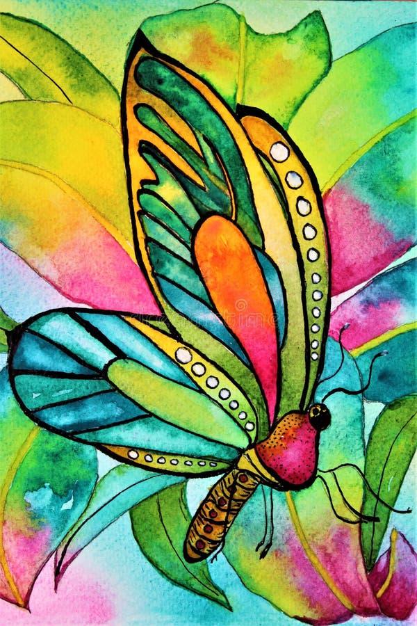 Farfalla dell'acquerello con l'orchidea ed il fogliame fotografia stock libera da diritti