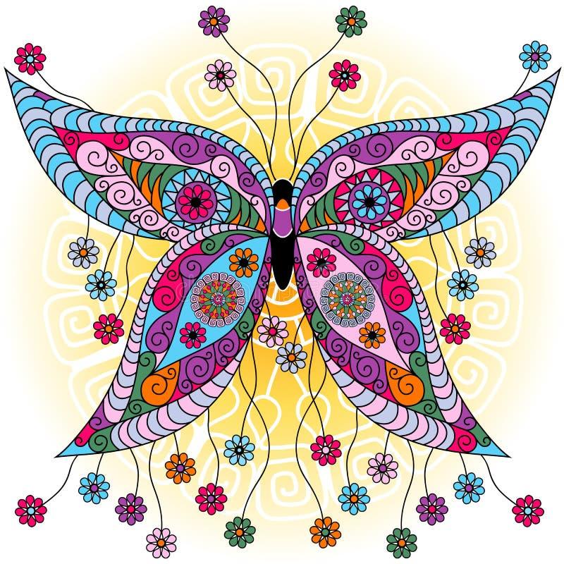 Farfalla dell'annata della molla di fantasia illustrazione di stock